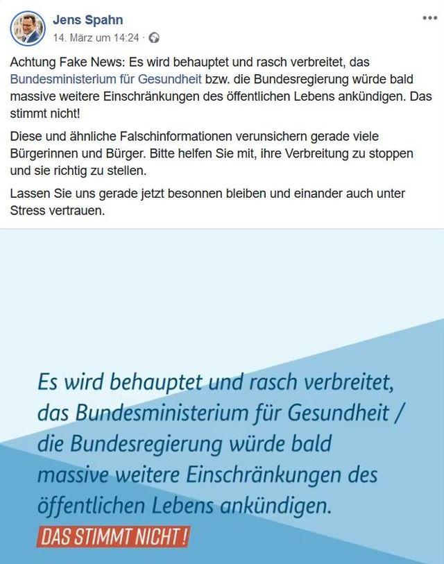 Facebook-Post von Gesundheitsminister Jens Spahn. Er betont, weitere Einschränkungen seien nicht geplant. Alles andere seien Fake News.