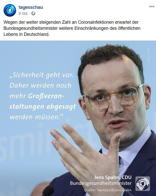 Jens Spahn fordert zur Absage von Großveranstaltungen auf.