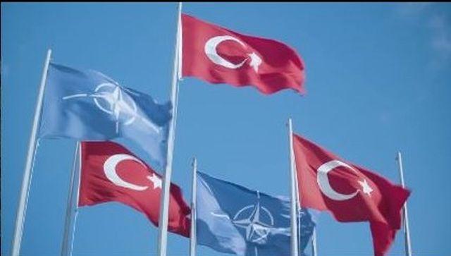 Türkische Fahnen in rot mit weißem Halbmond und Stern.