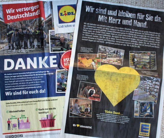 Zwei ganzseitige Zeitungsanzeigen von Edeka und Lidl mit Dank an die Kunden und die MitarbeiterInnen.