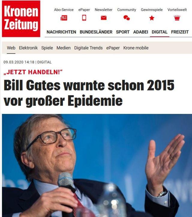 """Bill Gates im Bild. Text: Bitte Gates warnte schon 2015 vor großer Epidemie"""", unter dem Zeichen """"Kronen-Zeitung""""."""