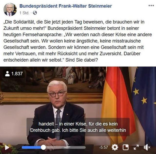 Post von Frank-Walter Steinmeier zu seiner Rede an die Bürgerschaft zum Thema Corona. Neben ihm die deutsche und die EU-Flagge.