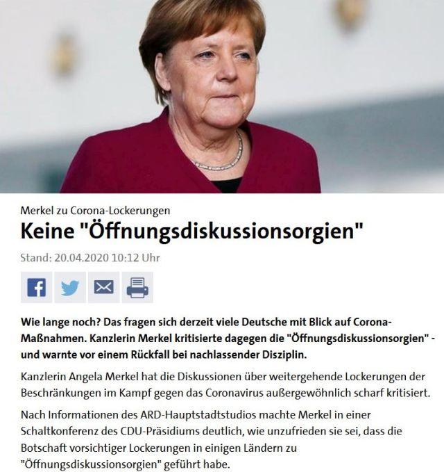 """Screenshot aus tagesschau.de. Angela Merkel in rotem Oberteil. Titel""""Keine Öffnungsdiskussionsorgien'""""."""