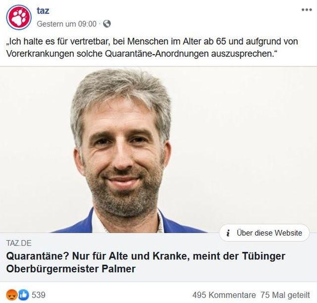 """Boris Palmer mit Bart. Titel der TAZ: """"Quarantäne? Nur für Alte ud Kranke, meint der Tübinger Oberbürgermeister Palmer""""."""