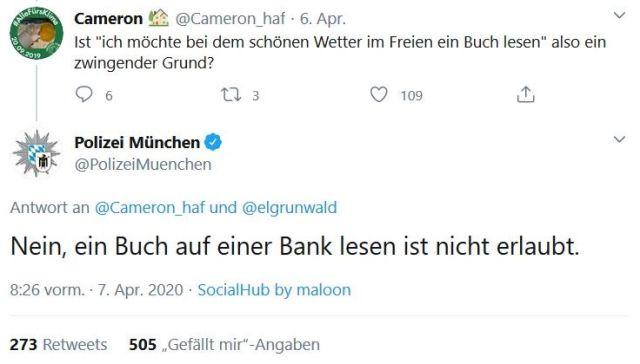 """Tweet der Münchner Polizei: """"Nein, ein Buch auf einer Bank lesen ist nicht erlaubt."""""""