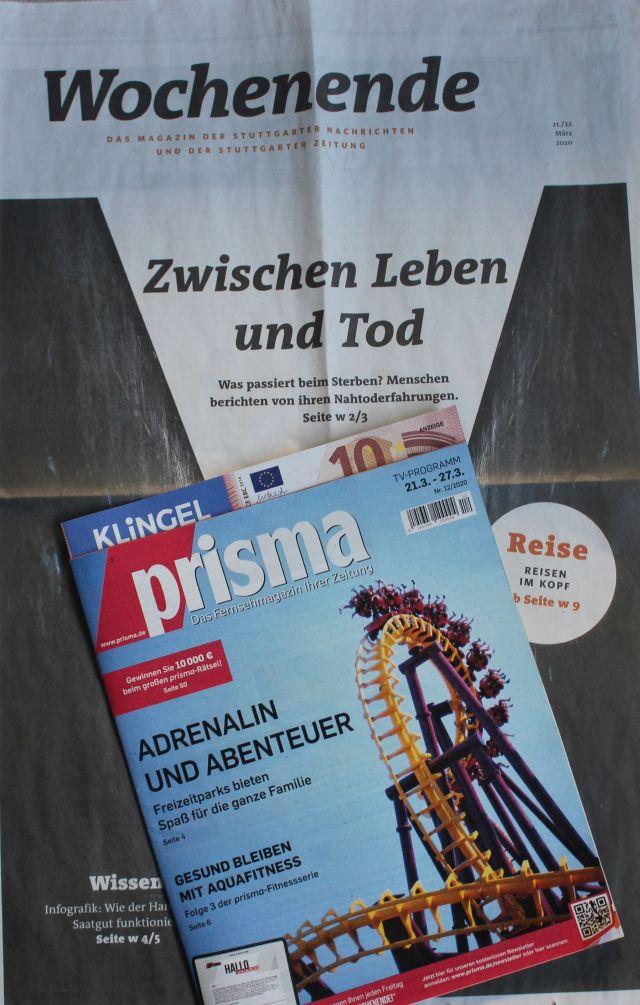 Collage aus einer kleineren Zeitungsbeilage und einer Zeitungsseite. Inhalt bitte Bildtext.