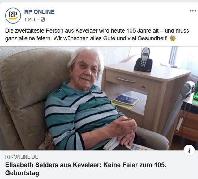 Post über eine Frau, die ihren 105. Geburtstag wegen Corona alleine feiern muss.