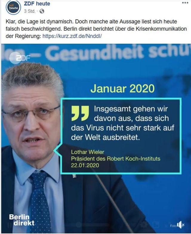 """Der Präsident des RKI im Januar: """"Insgesamt gehen wir davon aus, dass sich das Virus nicht sehr stark auf derv Welt ausbreitet."""""""
