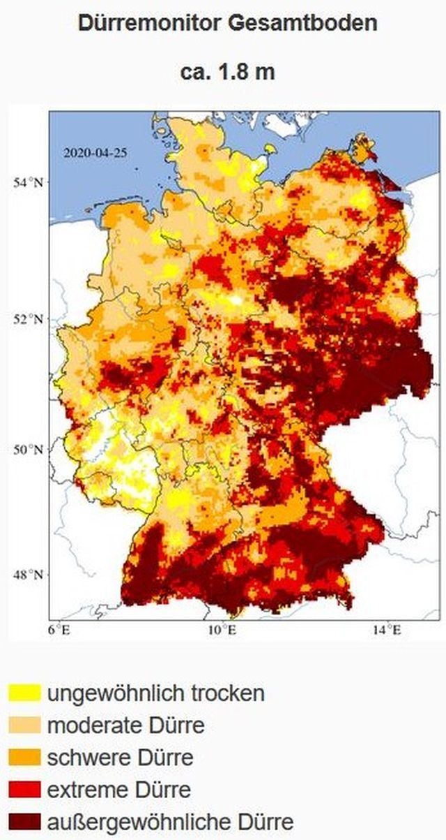 Deutschland-Karte mit der farblich dargestelten Bodenfeuchte in 180 Zentimetern Tiefe. In Süddeutschland und im Osten dominieren dunkelrote Farben: besondere Dürre!