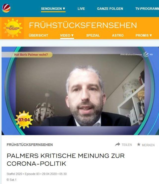 Boris Palmer mit Bart und kurz gschnittenen Haaren in einer Internet-Darstelung von Sat1. Text: Palmers kritische Meinung zur Corona-Politik.