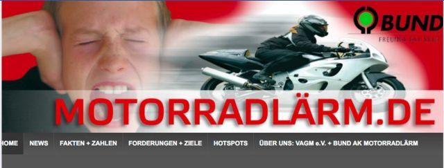 Screenshot aus der Internet-Seite 'Motorradlärm' mit einem Motorrad und einer Person, die sich die Ohren zuhält.