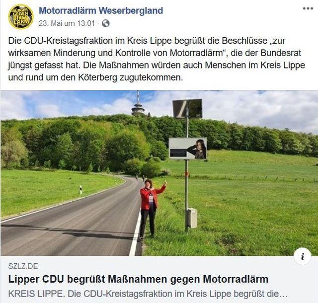 Facebook-Post von 'Motorradlärm Weserbergland'. Eine Frau im roten Oberteil an einer Lärmanzeige.