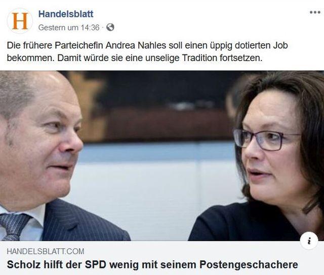 """Olaf Scholz und Andrea Nahles im Bild. Text: """"Scholz hilft der SPD wenig mit seinem Postengeschacher""""."""