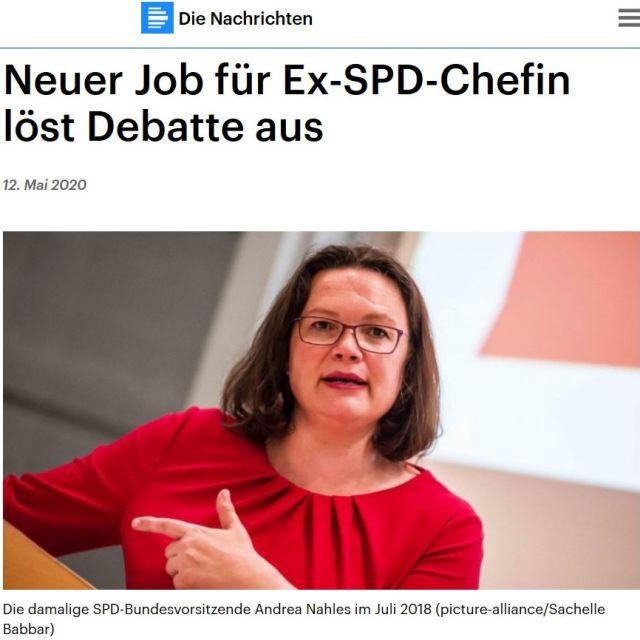 """Ausriss aus Deutschlandfunk. Andrea Nahles in rotem Oberteil, braunen Haaren und Brille. Text: """"Neuer Job für Ex-Chefin löst Debatte aus""""."""