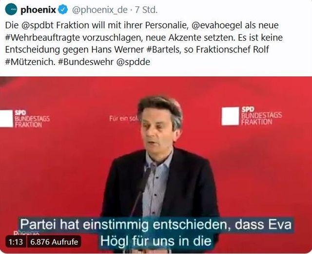 """Screenshot aus 'Phoenix' mit Rolf Mützenich vor rotem Hintergrubnd und dem Text """"Partei hat einstimmig entschieden, das Eva Högel für uns in die"""" Position des Wehrbeauftragten wechselt. """""""