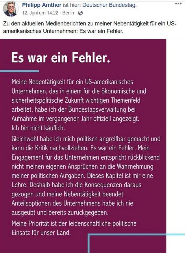 """Facebook-Post von Philipp Amthor mit dem Titel """"Es war ein Fehler""""."""