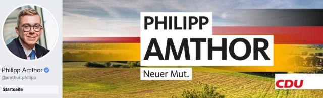 """Screenshot aus der Internetseite von Philipp Amthor. Sein Name und darunter """"Neuer Mut""""."""