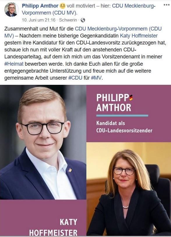 Facebook-Post von Philipp Amthor zu seiner Kandidatur zum Landesvorsitzenden.