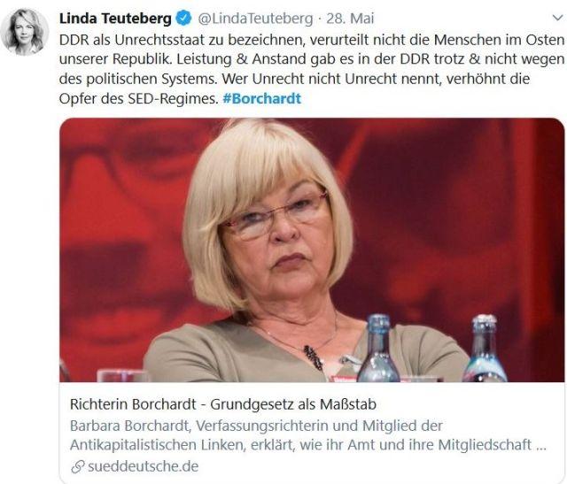 """Barbara Borchardt mit blonden Haaren und Brille in einem Tweet. Linda Teuteberg bringt es auf den Punkt: """"Wer Unrecht nicht Unrecht nennt, verhöhnt die Opfer des SED-Regimes."""""""