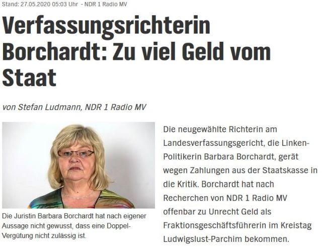 """Überschrift des Ausrisses aus der NDR-Internetseite. """"Verfassungsrichterin Borchardt: Zu viel Geld vom Staat"""". Barbara Borchardt ist blond mit Brille und fülligem Gesicht."""