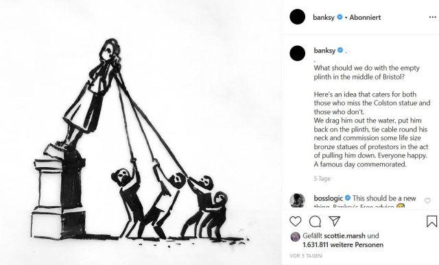 Skizze von Banksy. Sie stellt ein kombiniertes Denkmal aus der früheren Statue und neuen Figuren (Demonstranten) dar.es