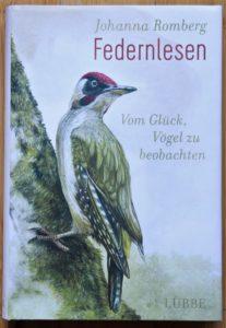 Cover des Buches Federnlesen mit einem gemalten Buntspecht.