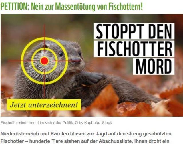 """Bild mit Fischotter, ein Fadenkreuz am Kopf. """"Stoppt den Fischottermord""""."""
