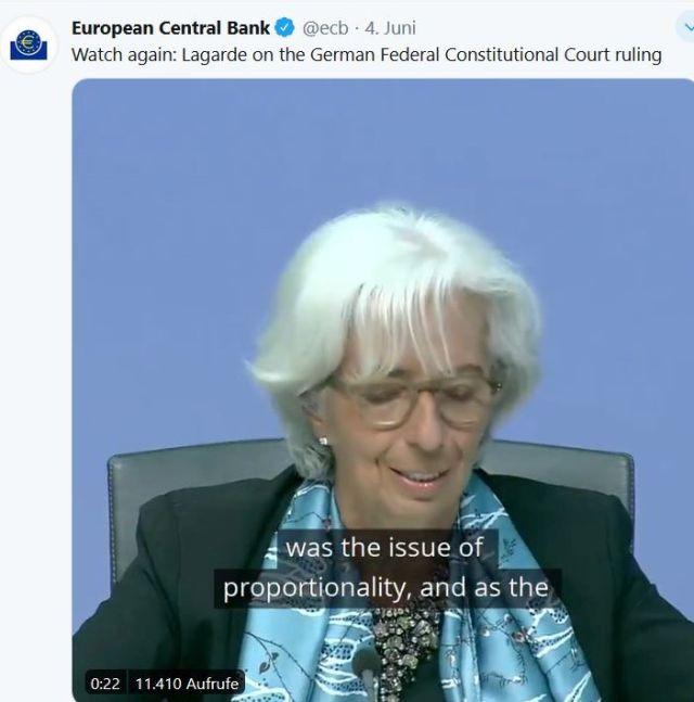 Christine Lagarde in einem EZB-Tweet.
