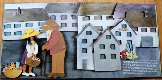 Ausriss aus dem Kinderbuch Lilli mit der kleinen Lilli und einem Mann mit Hut.