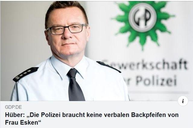 """Facebook-Post der Gewerkschaft der Polizei mit der Aussage: """"Die Polizei braucht keine verbalen Backpfeifen von Frau Esken."""""""