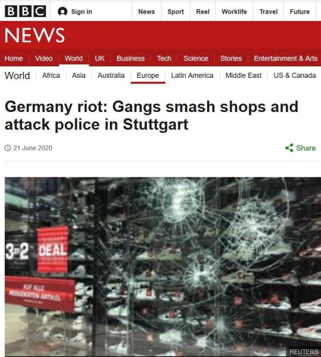 Screenshot aus der BBC-Internetseite mit einem Foto einer zerbrochenen Fensterscheibe.