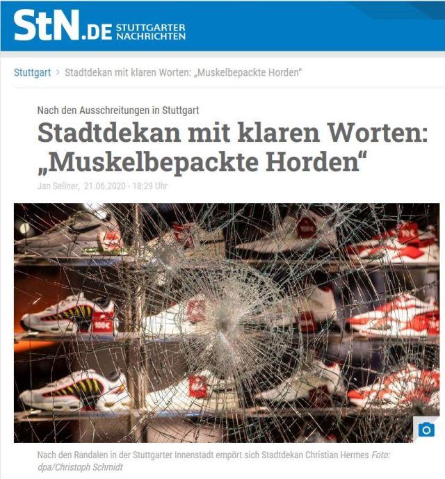 Bericht der Stuttgarter Nachrichten mit einem Foto einer zerschlagenen Fensterscheibe.