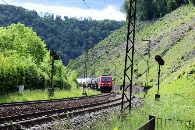 Eine rote Elektrolok zieht Güterwaggons die steil ansteigende Trasse hoch. Links Bäume, rechts eine steile Böschung. Dazu Masten für die Oberleitung.