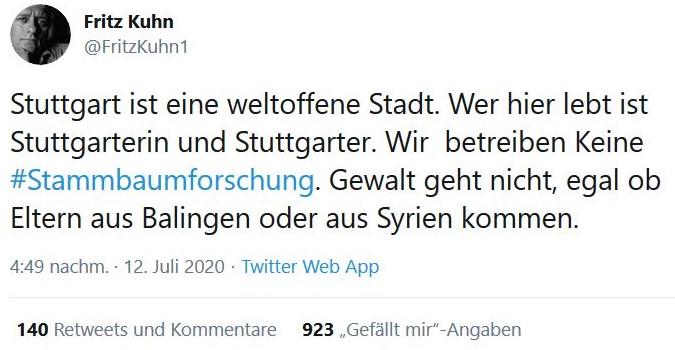 Tweet von OB Fritz Kuhn zum Thema 'Stammbaumrecherche'.