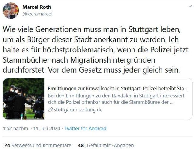 Tweet von Marcel Roth, der behauptete, die Polizei habe eine 'Stammbaumrecherche' betrieben.