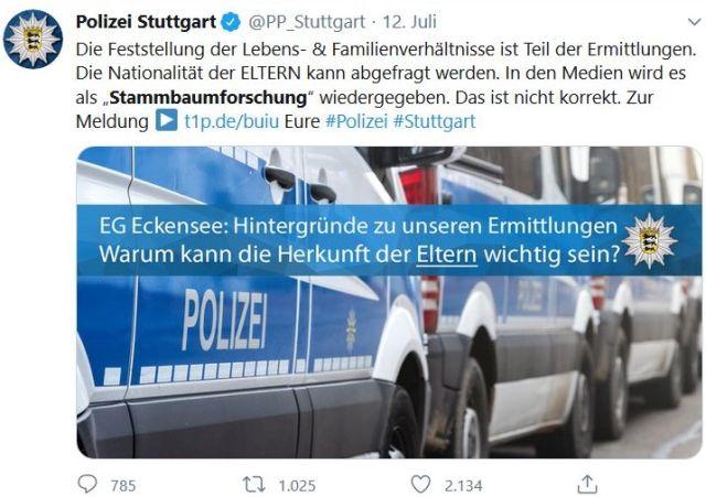 Tweet der Stuttgarter Polizei.
