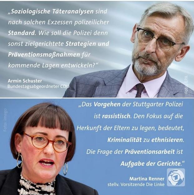 Facebook-Post mit Aussagen von Armin Schuster und Martina Renner. Siehe hierzu den Text.