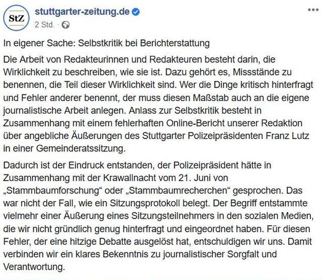 Tweet der Stuttgarter Zeitung mit Entschuldigung, da sie irrtümlich der Polizei vorgeworfen hatte, eine Stammbaumrecherche zu betreiben.
