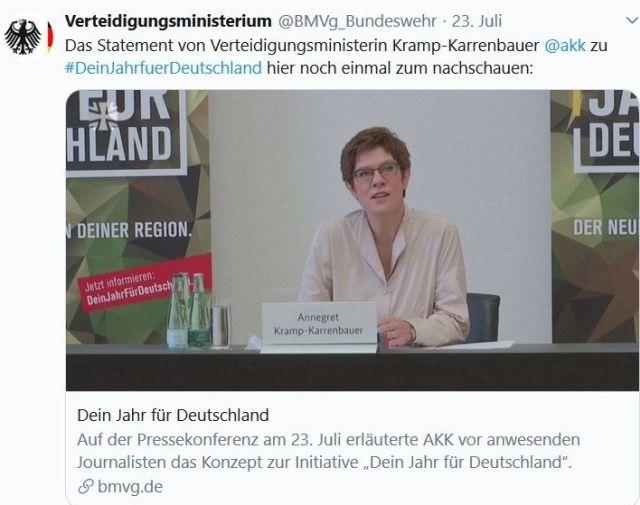 """Annegret Kramp-Karrenbauer in Tweet des Verteidigungsministeriums zu """"Dein Jahr für Deutschland""""."""