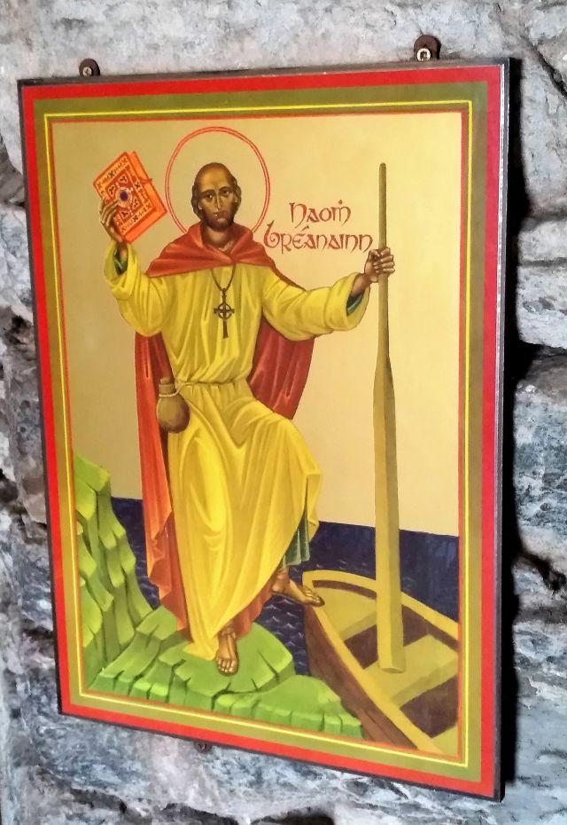 Der Heilige Brendan auf einem Gemälde in der Kirche in Dingle.