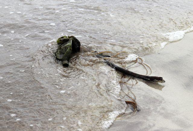 Eine dunkle Plastikflasche wird am Strand mit Seetang angeschwemmt.
