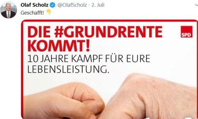 Tweet von Olaf Scholz zur Grundrente.