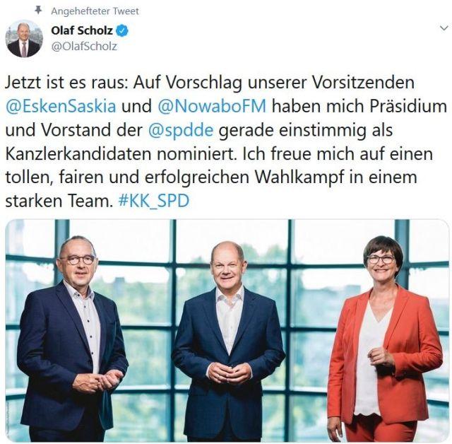 Tweet, in dem Olaf Scholz, seine Kanzlerkandidatur ankündigt.Im Bild: Norbert Walter-Borjans, Olaf Scholz und Saskia Esken (von links nach rechts).