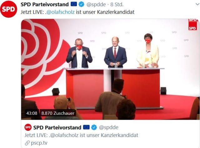 Norbert Walter-Borjans und Saskia Esken mit roten Masken am Rednerpult. Dazwischen Olaf Scholz ohne. Er trug bis zum Rednerepult eine weiße Maske.