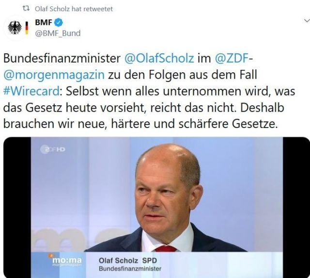Tweet des Bundesministeriums der Finanzen zu Wirecard mit Bild von Olaf Scholz.