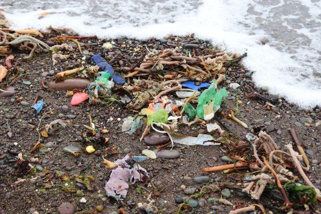 Am Spülsaum, den gerade wieder eine Welle erreicht, liegt neben Seetang eine Vielzahl von bunten Plastikteilen.