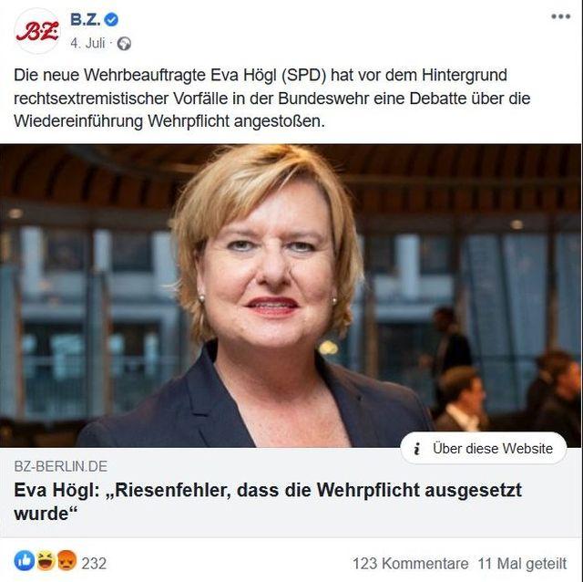 Eva Högl im Bild. Sie hält die Abkehr von der Wehrpflicht für einen Fehler. Ausriss aus Berliner Zeitung.