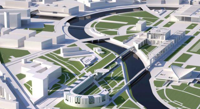 Architekturmodell für das Bestandsgebäude und den Erweiterungsbau des Kanzleramts. Die Spree, die beide Teile trennt, soll mit einer zweiten Fußgängerbrücke überwunden.