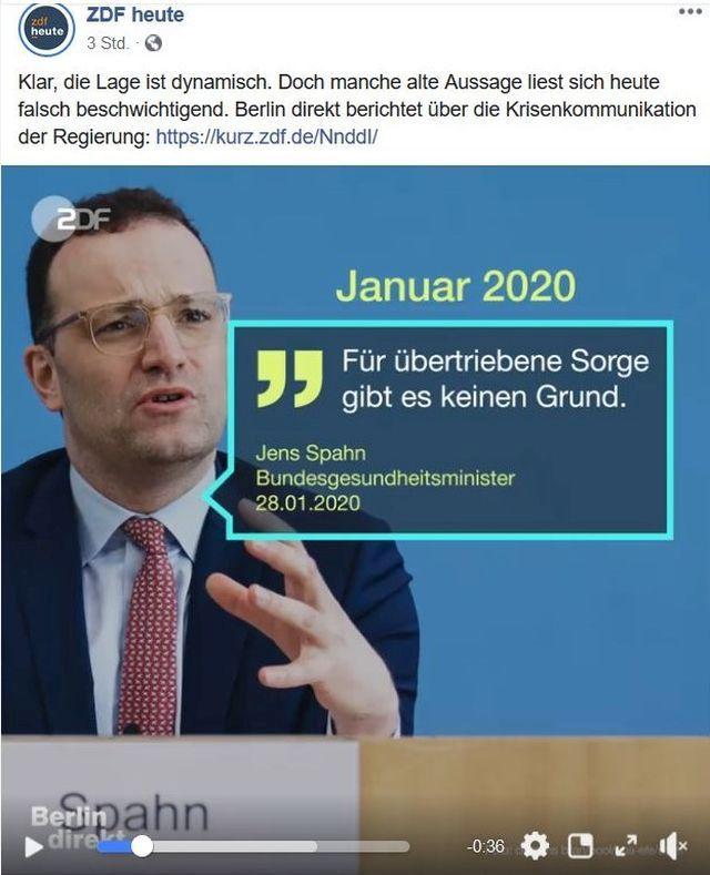 """Jens Spahn mit Brille, Anzug und rötlicher Krawatte. Text: """"Für übertriebene Sorge gibt es keinen Anlass."""" Er bezieht diese Aussage auf die Corona-Pandemie."""