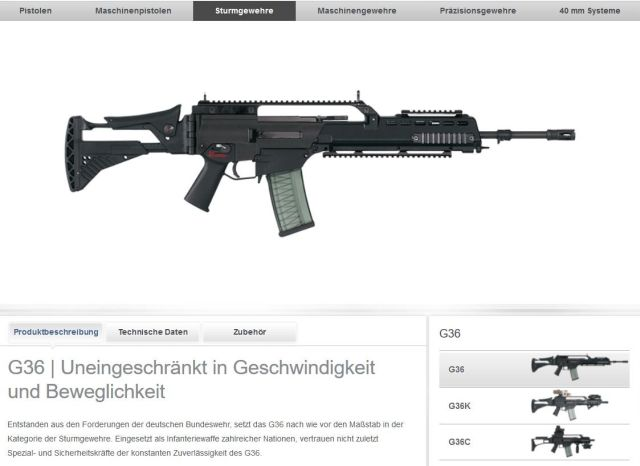 Screenshot aus der Internetseite von Heckler & Koch mit einer Abbildung des Gewehrs G36.